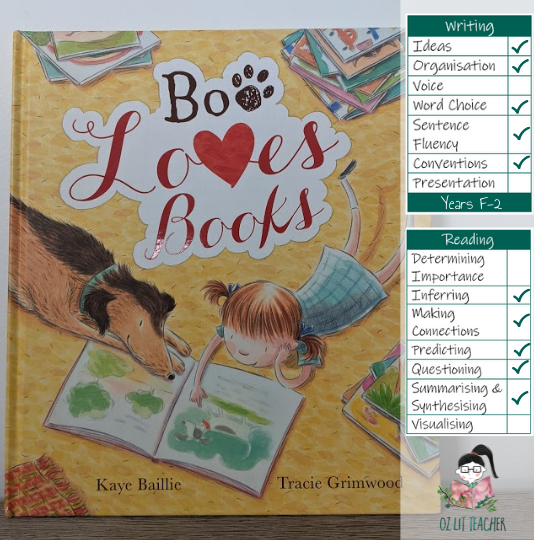 Boo Loves Book mentor text for teaching writing.